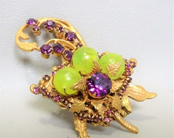 Signed Miriam Haskell brooch - Rare - Collectable - Vintage- 1950s - gift for woman