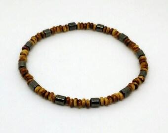 Men's Wood Bead & Hematite Bracelet