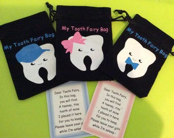 Childrens Tooth Fairy Bag, Tooth Fairy Sack, Tooth Fairy Keepsake, Tooth Fairy Pillow, Tooth Fairy Gift