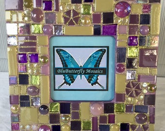 Iris Purple and Green Mosaic Picture Frame