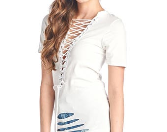 Women's Eyelet Lace-up Grunged Laser Cut-out Short Sleeves Top