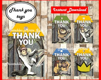 Where The Wild Things Are Thank you Tags, printable Where The Wild Things Are party Thank you Tags, Where The Wild Things Are Tags