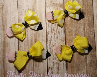 Pencil Hair Bow ***BACK TO SCHOOL***