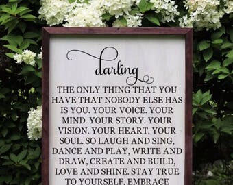 Darling As Only You Can Wood Sign, Girl Bedroom Sign, Nursery Wall Art, Baby Shower Gift