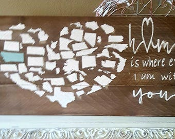 State Heart Wooden Sign