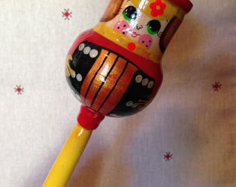 Wooden baby rattle /Russian Khokhloma painting with national ornament, vintage / Russian souvenir made in USSR