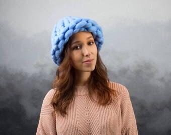 Chunky Helsinki Hat Big Yarn, Super Chunky Yarn hat, Hand Knitted Hat, Merino Wool 100%