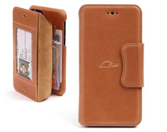 iPhone 7 Wallet Case - iPhone 7 Leather Case - Personlaized Leather Wallet Case - Flip Case - Cards - Stand - LIGHT BROWN