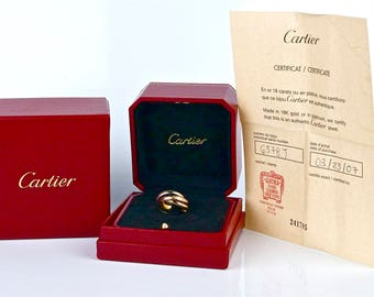 CARTIER Trinity 18k Tri-Color Gold Rolling Band Ring Size 5.5 in Original Box