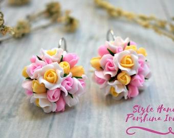 Rose earrings, earrings roses, cold porcelain, custom jewelry, flower earrings, pink, white roses earrings, gift, for her, yellow earrings