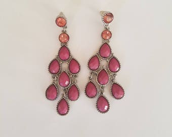 Gorgeous! One of a Kind Vintage Pink and Silver Victorian Chandelier Earrings - Teardrop Shape for Pierced Ears - Classic 1960s Fashion!