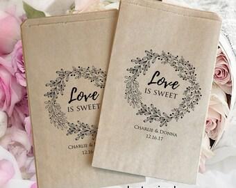Wedding treat bag   wedding favor bag   Wedding candy bag   Kraft favor bags   Wedding popcorn bags   wedding bag rustic
