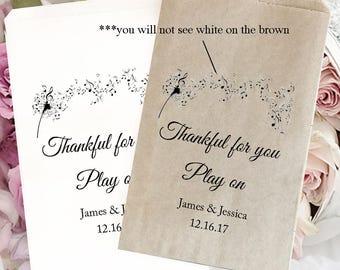 Music wedding treat bag | Musician wedding  | Wedding candy bag | Kraft favor bags | Wedding popcorn bags  | musical