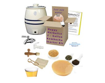 Complete 2 gallon Kombucha Brewing Kit Stoneware