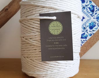 Single Ply 6mm Macrame Cord / Cotton Rope / DIY Macrame wall hanging / macrame rope / Cotton Rope / macrame UK cotton