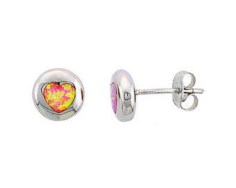 Sterling Silver Pink Opal Heart Stud Earrings