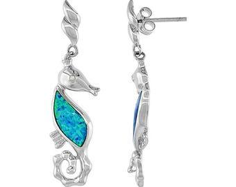 Sterling Silver Blue Opal Seahorse Dangle Earrings
