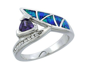 Sterling Silver Blue Opal Multistone Ring Amethyst CZ Accent