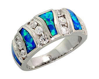 Sterling Silver Blue Opal Band Ring CZ Accent