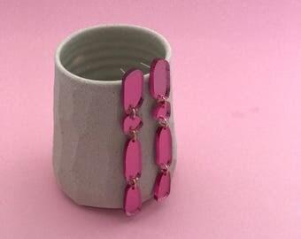 Tourmaline Pink Acrylic Dingle Dangle Earrings