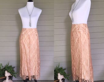 Vintage Worthington Rose Champagne Colored Lace Skirt, Vintage Long Lace Skirt, Women's Size Small