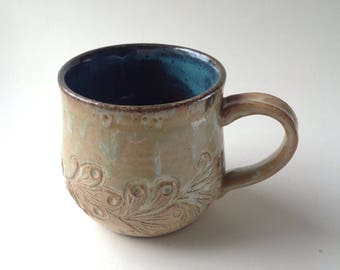 Antique White Hand Carved Henna inspired Ceramic Mug, 11oz.