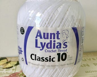 Aunt Lydia's Crochet Thread Classic 10 in White 1000 Yards 100% Mercerized Cotton Craft Thread Craft String