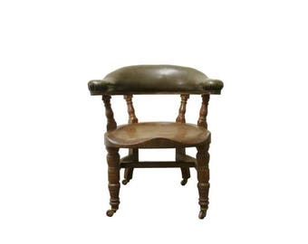 Victorian oak and leather desk chair - antique captains chair - antique english desk chair - victorian furniture - early 20th century chair