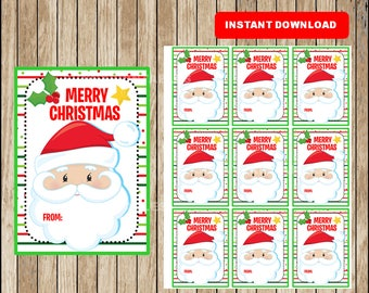 Printable Christmas Gift Tags - Christmas Favor Tags - Christmas present tags - Santa tags - Instant Download