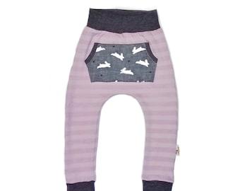 Pastel Stripe Joggers Lavender  Bunny Easter Spring Trendy Boy Girl Baby Toddler Harems Pants With Pocket