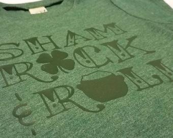 ShamRock and Roll Dark Green on Heather Green TShirt Boy Girl Baby Toddler Edgy St Patricks Day Punk Spring
