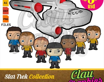 Star Trek SVG patterns, DXF files and PNG images, receive the main characters and the Enterprise ship to make papercraft projects and more