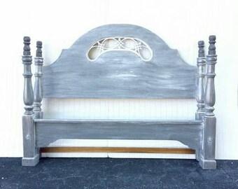 Grey Gray White Rustic Glazed Antiqued Queen Size Bed Headboard Footboard Beach Coastal Modern Farmhouse