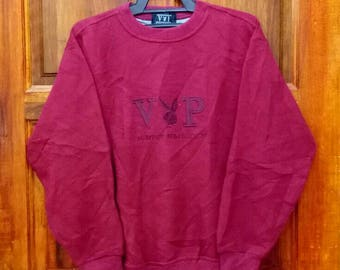 Rare!! PLAYBOY sweatshirt spell out embroidery big logo nice design maroon colour medium size