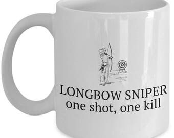 Archery Gift - Archer Coffee Mug - Longbow Sniper
