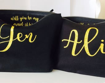 Bridesmaid personalised gift makeup bag cosmetic bag birthday gift
