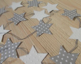 Garland of stars - room or party - gray and white