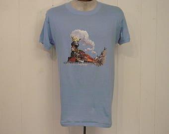 Vintage t shirt, graphic t shirt, 1980s t shirt, vintage train, locomotive, steam engin, train t shirt, vintage clothing, Large