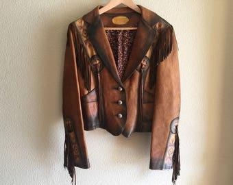 Vintage Buckskin fringed jacket by Front Street Leather