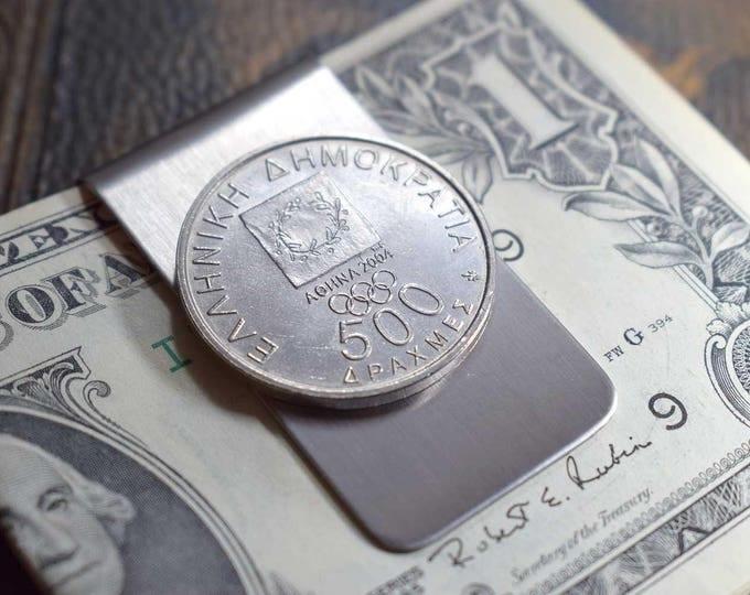 2004 Olympics, Coin Money Clip, Greece, Olympic Games, 2004, Anniversary 2004, Greece 2004, Men's Gift, Olympics Money Clip, 500 Drachmas