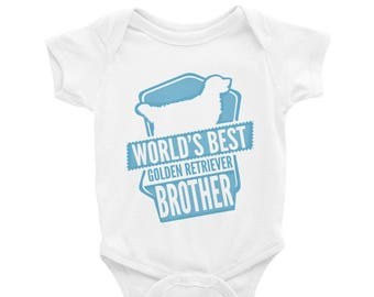 Baby Onesie 'World's Best Golden Retriever Brother' - 4 colors! - Funny Cute Golden Retriever - Baby Clothing Gift Baby Shower - Dog Lover
