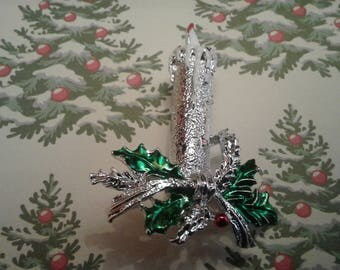 Gerrys Christmas Candle and Holly Enamel and Silvertone Brooch