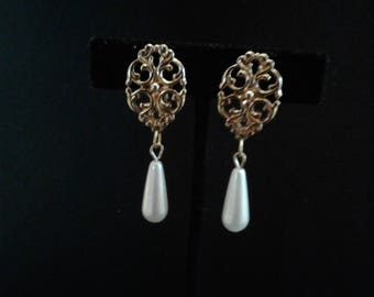 Upcycled Filigree Clip On Earrings with Pearl Drops
