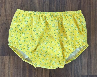 Yellow Floral Bloomers, Baby Bloomers, Toddler Bloomers, Yellow Floral Diaper Cover, Nappy Cover