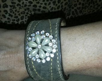 Upcycled Leather Cuff Bracelet