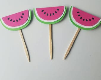 Watermelon cupcake toppers, watermelon party decor