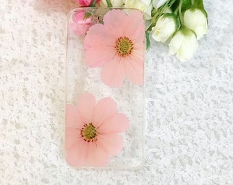 Handmade pressed flowers Silicone case for iphone 8 plus iphone 7 plus case  cover pink flowers