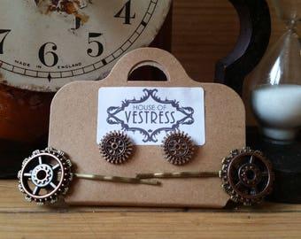Steampunk jewellery/ steampunk hairslide/ steampunk earings