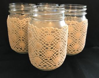 Mason jar decor, crochet covered mason jars, home decor, party decor, wedding decor, birthday decor, set of 4