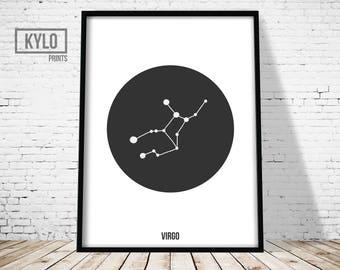 Virgo Print, Constellation Print, Zodiac Poster, Astrology Print, Scandinavian Print, Nursery Wall Art, Virgo Poster, Constellation Art